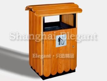 钢木结构方形垃圾桶,琥珀色/黑色-雅悠·中国公共