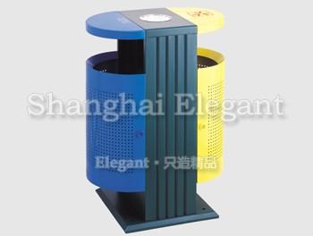 > 分类椭圆钢结构垃圾桶,黄/绿/蓝